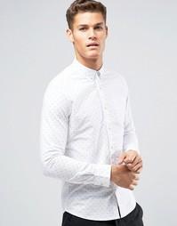 Белая рубашка узкого кроя с принтом Burton Menswear - Белый