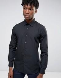 Черная рубашка слим Burton Menswear - Черный