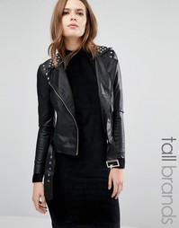 Байкерская куртка из искусственной кожи с заклепками Vero Moda Tall - Черный