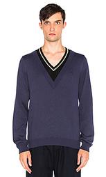 Двухслойный вязаный свитер с v-образным вырезом - Fred Perry x Raf Simons
