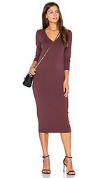 Миди платье с v-образным вырезом и рукавом 3/4 - Michael Stars