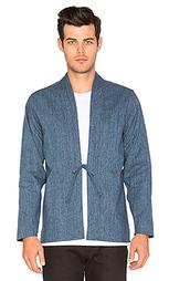 Kimono shirt indigo speckle dye basketweave - Naked & Famous Denim
