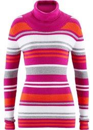 Пуловер с высоким воротом (сапфирно-синий в полоску) Bonprix