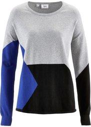 Пуловер в стиле пэчворк (нежная фуксия/мандариново-крас) Bonprix
