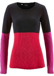 Пуловер (светло-серый меланж/черный/сап) Bonprix