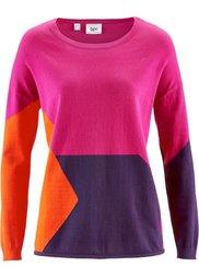 Пуловер в стиле пэчворк (светло-серый меланж/сапфирно-с) Bonprix