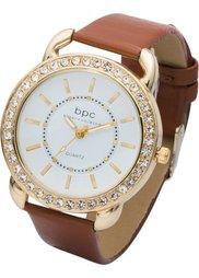 Часы на браслете с крокодиловым тиснением (черный/розово-золотистый) Bonprix