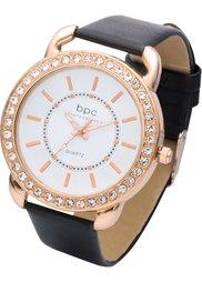 Часы на браслете с крокодиловым тиснением (золотистый/коричневый) Bonprix