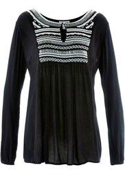 Туника дизайна Maite Kelly с длинным рукавом (кремовый/черный с вышивкой) Bonprix