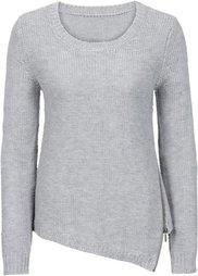 Вязаный пуловер с вырезом на молнии (темно-бордовый) Bonprix