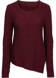 Вязаный пуловер с вырезом на молнии (светло-серый меланж) Bonprix