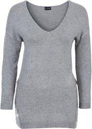 Пуловер с пайетками (розовый меланж) Bonprix