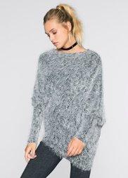 Пушистый пуловер (черный/светло-серый) Bonprix