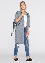Пальто в вязаном дизайне (черный/белый меланж) Bonprix