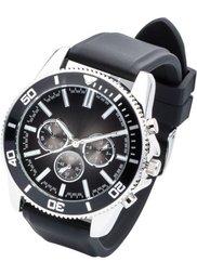 Мужские часы в стиле хронографа на силиконовом браслете (черный) Bonprix