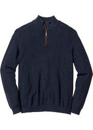 Пуловер Regular Fit с высоким воротом на молнии (серый меланж) Bonprix