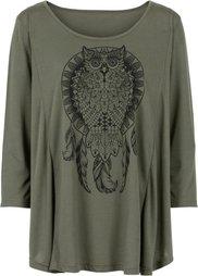Асимметричная футболка (светло-серый меланж/черный с р) Bonprix