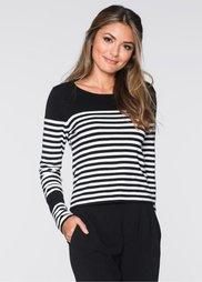 Пуловер (черный/белый в поперечную поло) Bonprix