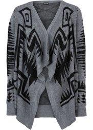 Узорчатый кардиган (черный/белый с узором) Bonprix