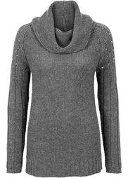 Вязаный пуловер с аппликацией (оливковый меланж) Bonprix