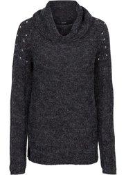 Вязаный пуловер с аппликацией (антрацитовый меланж) Bonprix