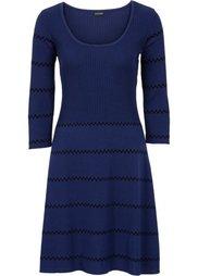 Вязаное платье (серый меланж/черный в полоску) Bonprix