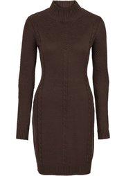Вязаное платье с ажурным узором (черный) Bonprix