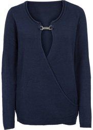 Пуловер с аппликацией (серый меланж) Bonprix