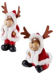 Новогодние декоративные фигурки Лоси Тим и Том (2 шт.) (красный/белый/коричневый) Bonprix