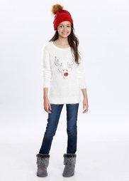 Пуловер с мотивом лося, Размеры  116/122-164/170 (цвет белой шерсти) Bonprix