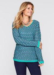 Пуловер (бирюзовый/королевский синий/бе) Bonprix