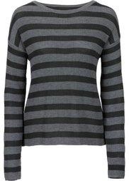 Пуловер с шифоновой вставкой (голубой/светло-кофейный в поло) Bonprix