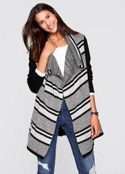 Длинный кардиган  дизайна Maite Kelly (черный/цвет белой шерсти/светл) Bonprix