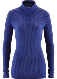 Пуловер с высоким воротом (нежная фуксия в полоску) Bonprix
