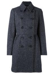 двубортное пальто в елочку Red Valentino