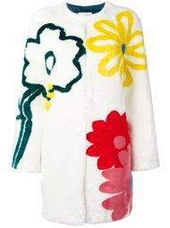 шуба из искусственного меха с цветочным принтом Mira Mikati
