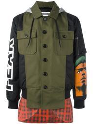 куртка комбинированного кроя с капюшоном Moschino