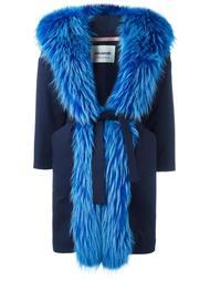 пальто с отделкой из меха енота Ava Adore