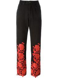 брюки с цветочной вышивкой Fendi Vintage