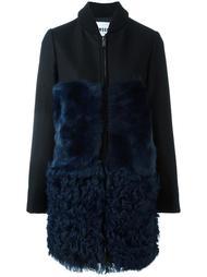 пальто с панелями из овчины MSGM