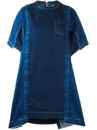 джинсовое платье с панельным дизайном Sacai