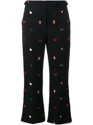 укороченные брюки с вышивкой Alexander McQueen