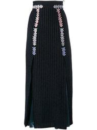 бархатная полосатая юбка миди  Peter Pilotto