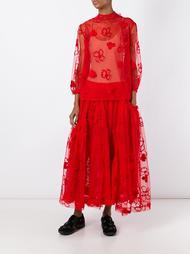 тюлевая юбка с цветочной вышивкой Simone Rocha