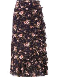 асимметричная юбка с рюшами и цветочным принтом Rochas