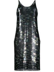 платье с цветочным узором и эффектом металлик Paco Rabanne