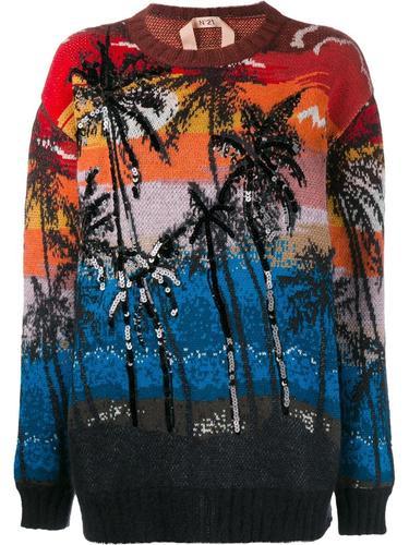 свитер с принтом пальм Nº21