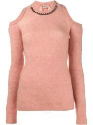 свитер с декорированной горловиной Nº21