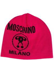 шапка с принтом-интарсией логотипа Moschino