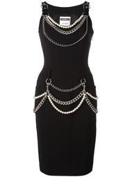 декорированное платье  Moschino